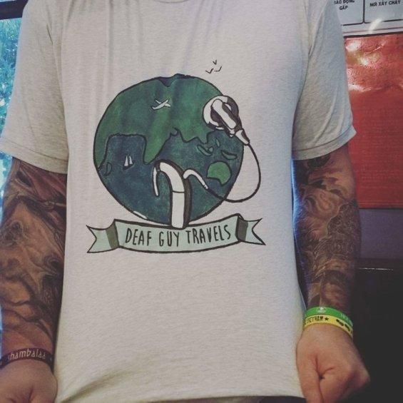 Deaf Guy Travel T-shirt Logo